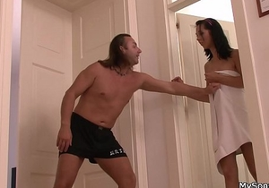Old father forces younger brunette into sex