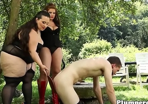 Chubby domina facesitting in femdom trio