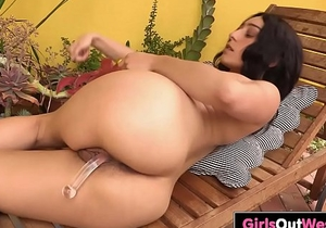 Charming Aussie babe toys her hairy cunt and ass