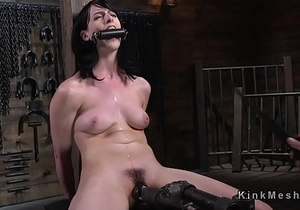 Strapped brunette rides Sybian