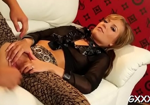 Playgirl in sexy lingerie plays