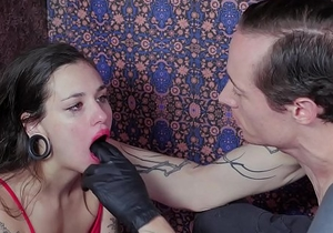 Tiny slave gets roughly face fucked