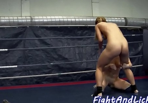 Amateur lezzie pussylicked after wrestling