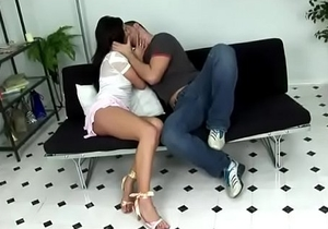 Very hot brunette rides a huge cock
