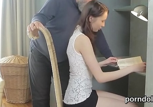 Cute schoolgirl was tempted and fucked by her elderly teacher