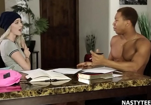 Black monster cock instead of study! - Iris Rose and Ricky Johnson