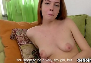 Sensual cutie gapes narrowed twat and gets deflorated