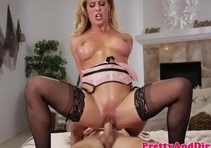 Blonde babe pounds and sucks guys cock