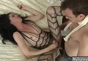 Flat chested TS Penny Tyler anal fucked