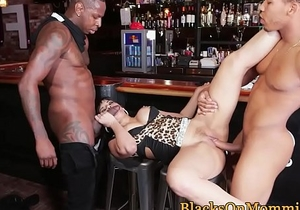 MILF waitress plowed by hard black cocks