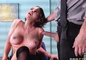 Buxom brunette fucks her new boss during the interview