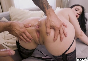 Chubby Czech babe in black stockings gets fucked in both holes
