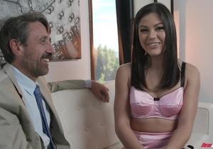 Bearded old man with a hard dick fucks beautiful Asian girl
