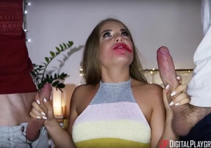 Fabulous Russian babe pleasuring two British dudes at once