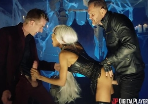 British black bitch in a wig fucked hard in MMF threesome